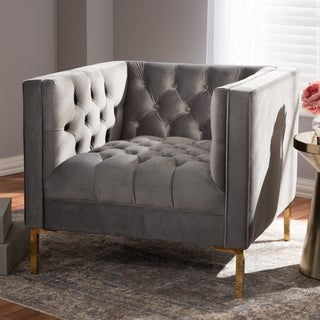 Glam Velvet and Gold Finished Lounge Chair