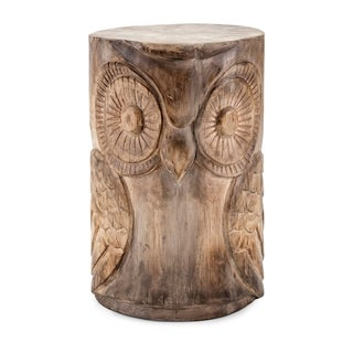 Wooden Brown and Natural Owl Stool