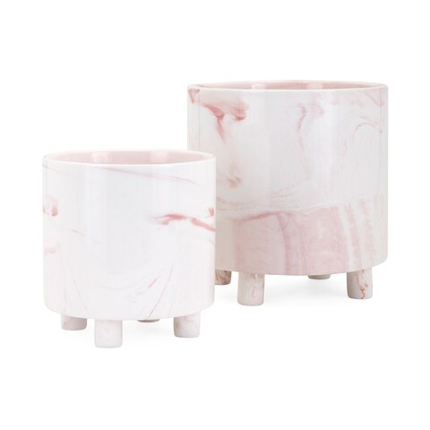 Parra Pink and White Blush Planters (Set of 2)