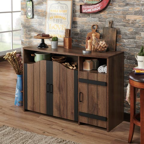 Furniture of America Horr Rustic Walnut 47-inch Buffet Server