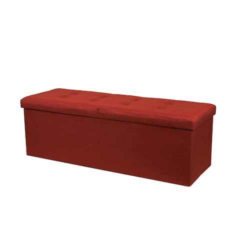Storage Ottoman Bench 45 Inch Smart Lift Top, Ruby Red - Crown Comfort