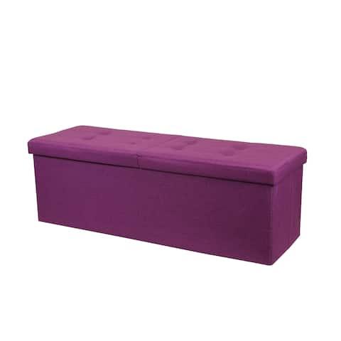 Storage Ottoman Bench 45 Inch Smart Lift Top, Orchid Purple - Crown Comfort