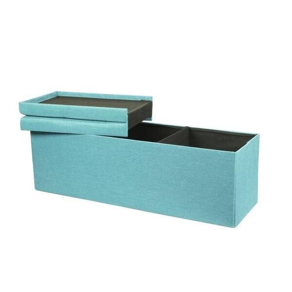 Admirable Shop Storage Ottoman Bench 45 Inch Smart Lift Top Mint Blue Gmtry Best Dining Table And Chair Ideas Images Gmtryco