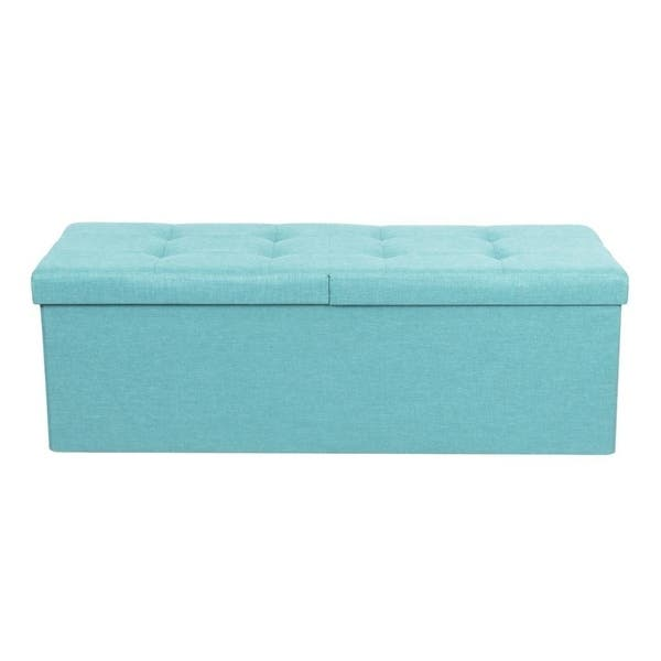 Super Shop Storage Ottoman Bench 45 Inch Smart Lift Top Mint Blue Gmtry Best Dining Table And Chair Ideas Images Gmtryco