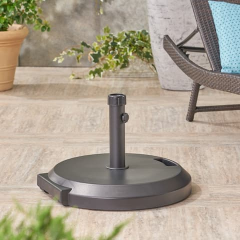 Lao Outdoor Concrete and Plastic Circular Umbrella Base with Iron Collar by Christopher Knight Home