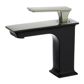 """Queen 6"""" Single Hole Single Handle Bathroom Faucet in Black and Brushed Nickel Finish"""