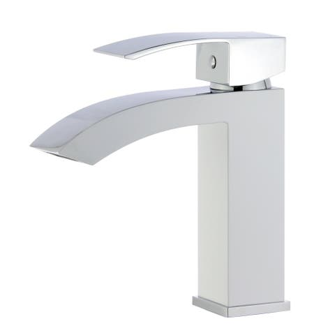 "Tuglea 8028 7"" Single Hole Two-Tone Bathroom Faucet in White and Polished Chrome Finish"