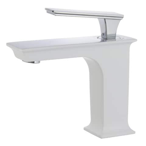 "Queen 6"" Single Hole Single Handle Bathroom Faucet in White and Polished Chrome Finish"
