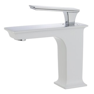 """Queen 6"""" Single Hole Single Handle Bathroom Faucet in White and Polished Chrome Finish"""