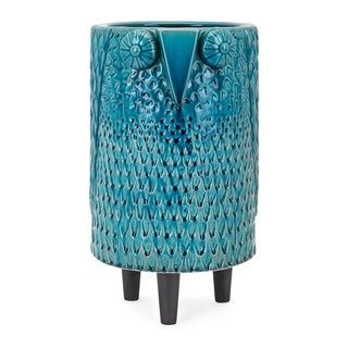 Owl Blue Large Vase