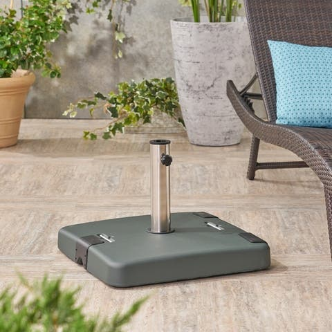 Malden Outdoor Umbrella Base with Stainless Steel Collar by Christopher Knight Home