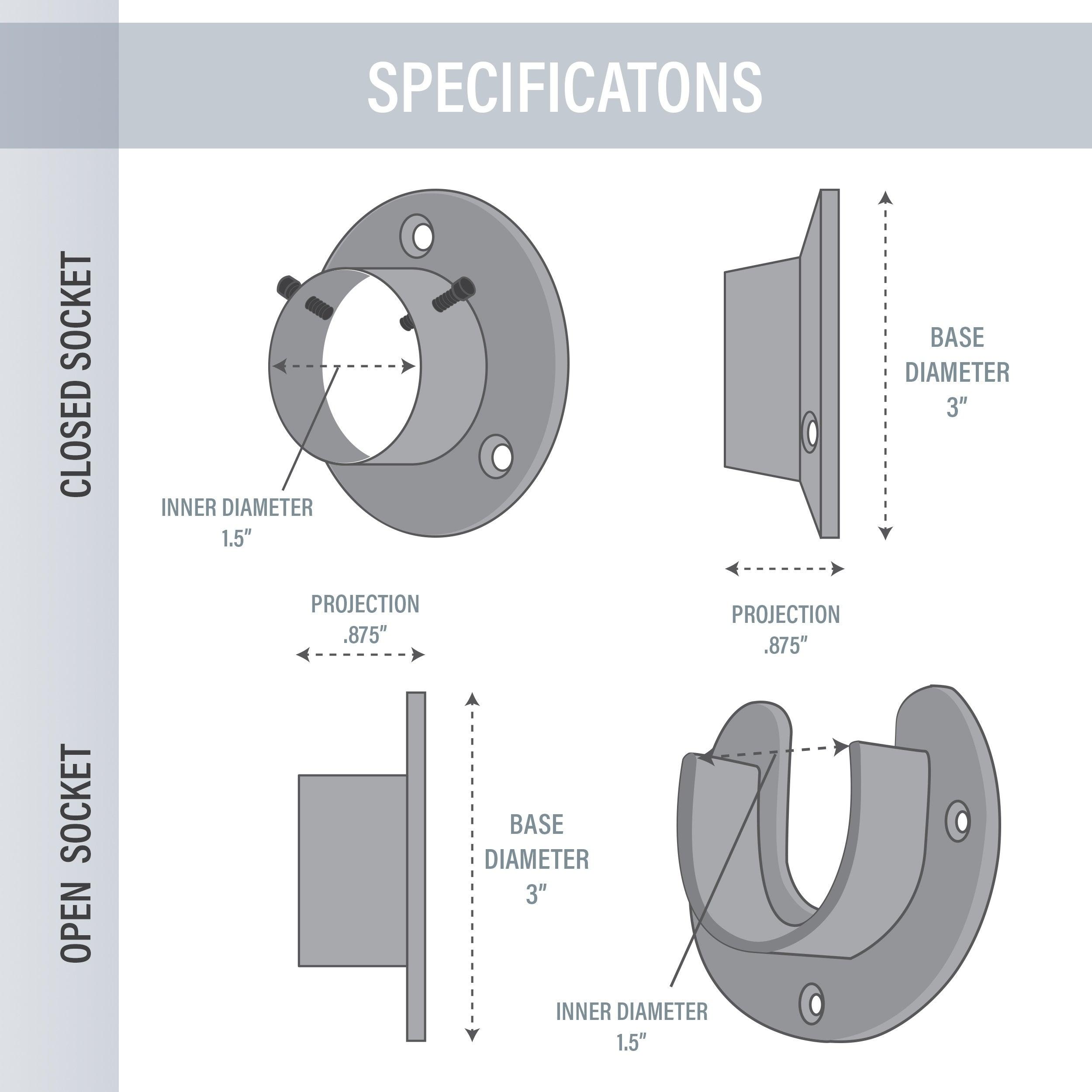 Instyledesign Heavy Duty Wall Mount 1 5 Closet Pole Rod Socket