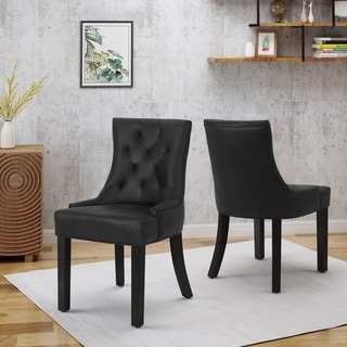 Link to Hayden Traditional Microfiber Dining Chairs (Set of 2) by Christopher Knight Home Similar Items in Dining Room & Bar Furniture