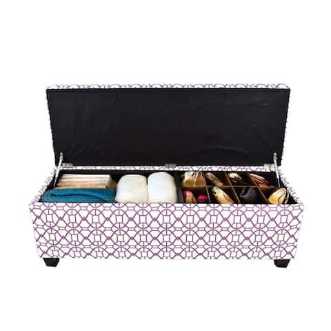 SOLE SECRET DUO 10 Button Linen & Shoe Storage Ottoman Bench - NOAH