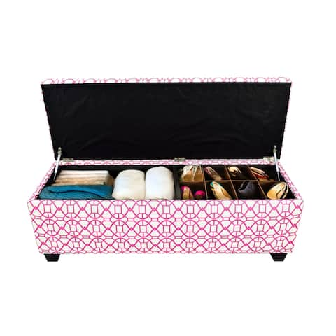 SOLE SECRET DUO 10 Button Linen & Shoe Storage Ottoman Bench - NOAH