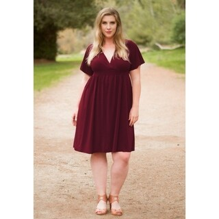 Women's Plus Size Knee-Length Classic V-Neck Dress -