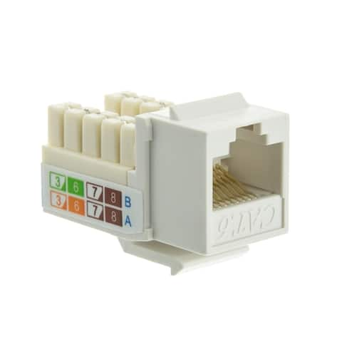 Offex Cat6 Keystone Jack, White, RJ45 Female to 110 Punch Down