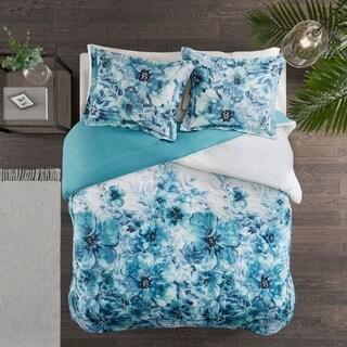 Madison Park Adella Teal 3 Piece Cotton Printed Duvet Cover Set