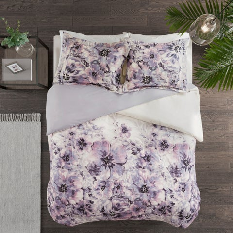 Madison Park Adella Purple 3 Piece Cotton Printed Duvet Cover Set