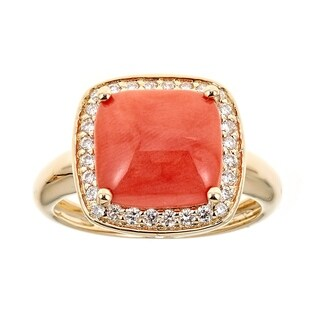 18k Yellow Gold Coral And Diamond Ring by Anika and August - White