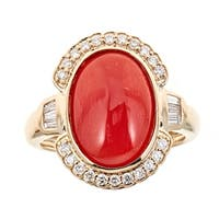 14k Yellow Gold Coral And Diamond Ring by Anika and August - White
