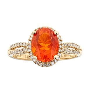 14K Yellow Gold Fire Opal And Diamond Ring by Anika and August
