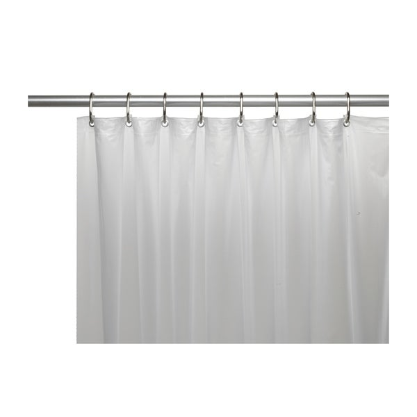 Carnation Home Fashions Vinyl Shower Curtain Liner With Metal Grommets And Reinforced Mesh Header In Frosty