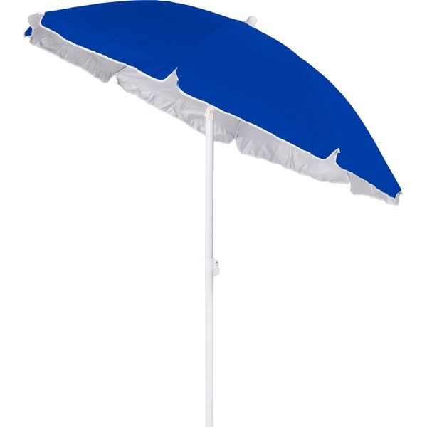 6ft Classic Oxford Beach Umbrella With Silver Lining and Anchor Pole