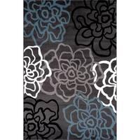"Contemporary Modern Floral Flowers Grey Polypropylene Area Rug - 6'6""x9'"