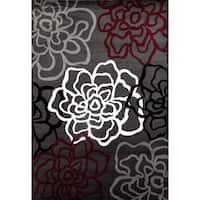 "Contemporary Floral Red/Grey Polypropylene Area Rug - 6'6""x9'"