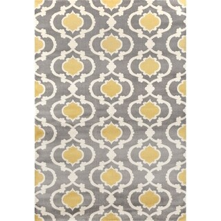 "Moroccan Trellis Contemporary Grey/Yellow Indoor Area Rug - 6'6"" x 9'"