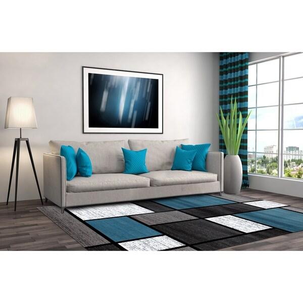 Blue/Grey Polypropylene Contemporary Modern Boxes Area Rug - 10' x 14'