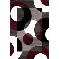 "Burgundy Polypropylene Modern Circles Area Rug - 6'6""x9'"