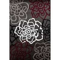 Contemporary Floral Red/Grey Polypropylene Area Rug - 10' x 14'
