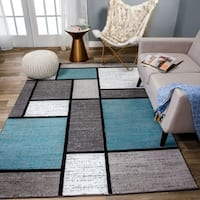 "Blue/Grey Polypropylene Contemporary Modern Boxes Area Rug - 6'6""x9'"