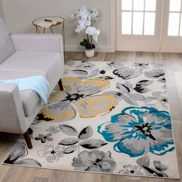 "Modern Floral Circles Cream Area Rug - 6'6"" x 9'"