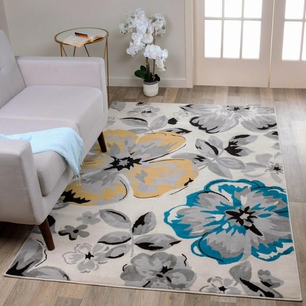 "Modern Floral Circles Cream Area Rug - 3'1"" x 5'"