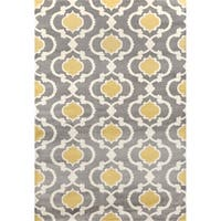 Osti Grey/Yellow Moroccan Trellis Contemporary Area Rug (10' x 14')