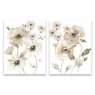 """Translucent Neutral"" Hand Embellished Canvas - Set of 2, 14W x 18H x 1.25D each"