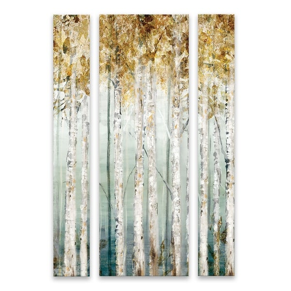 """""""Enlightened Moment"""" Hand Embellished Canvas - Set of 3, 26W x 40H x 1.25D - Multi-color"""
