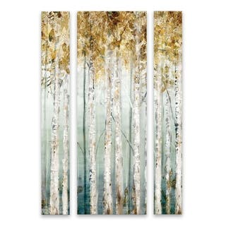 """Enlightened Moment"" Hand Embellished Canvas - Set of 3, 26W x 40H x 1.25D - Multi-color"