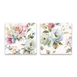 """""""Beautiful Romance"""" Hand Embellished Canvas - Set of 2, 16W x 16H x 1.25D each"""
