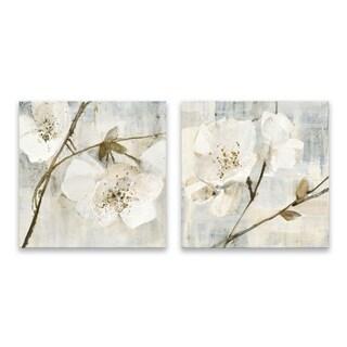 """""""Elegance Greige"""" Hand Embellished Canvas - Set of 2, 16W x 16H x 1.25D each"""