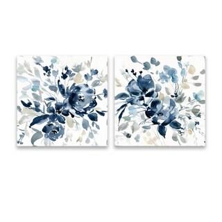 """""""Indigo Garden"""" Hand Embellished Canvas - Set of 2, 16W x 16H x 1.25D each"""