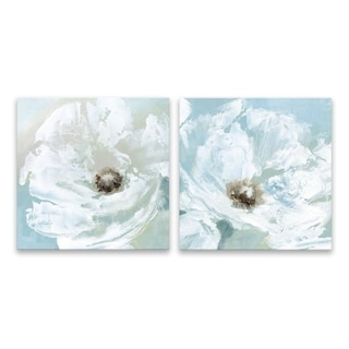 """""""Single Poppy"""" Hand Embellished Canvas - Set of 2, 16W x 16H x 1.25D each - Multi-color"""