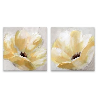 """Soft Sunday"" Hand Embellished Canvas - Set of 2, 16W x 16H x 1.25D each - Multi-color"
