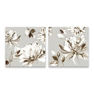 """Botanical Gray"" Hand Embellished Canvas - Set of 2, 16W x 16H x 1.25D each - Multi-color"