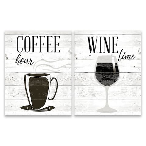 """""""Coffee Hour & Wine Time"""" Printed Canvas - Set of 2, 11W x 14H x 1.25D each - Multi-color"""