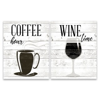 """""""Coffee Hour & Wine Time"""" Printed Canvas - Set of 2, 11W x 14H x 1.25D each"""
