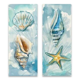 """Watercolor Shells I & II"" Printed Canvas - Set of 2, 8W x 20H x 1.25D each - Multi-color"